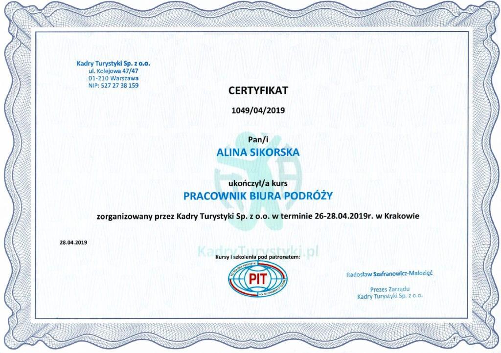 kurs pracownika biura podróży certyfikat