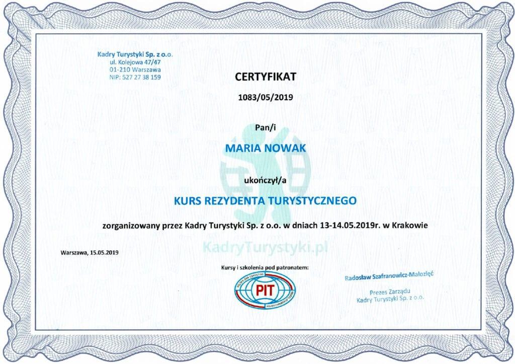 kurs rezydenta turystycznego certyfikat