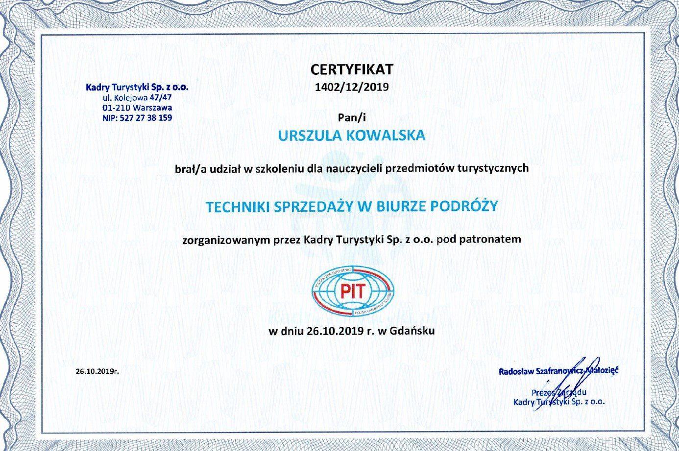 certyfikat nauczyciel przedmiotów turystycznych