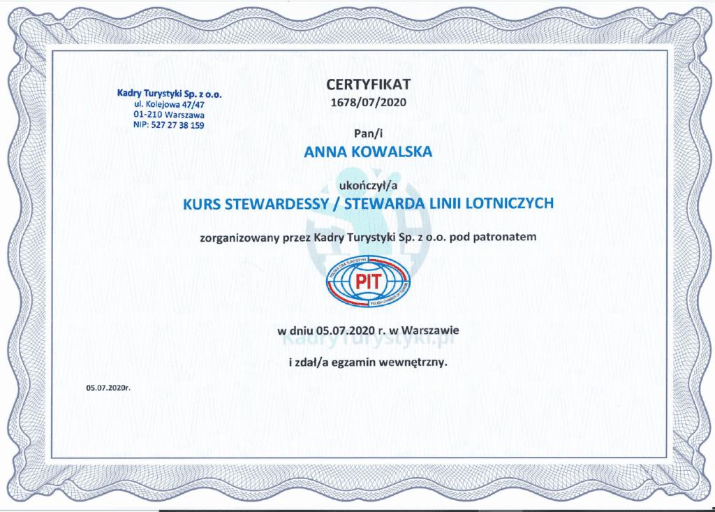 kurs stewardessy certyfikat