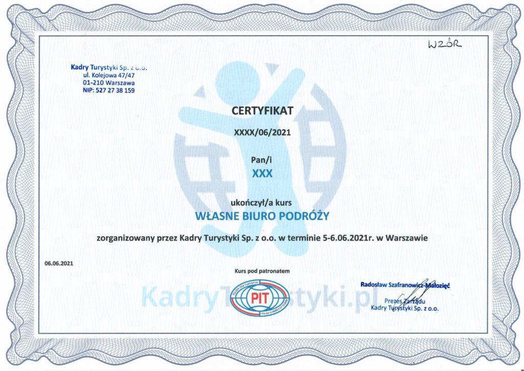 certyfikat własne biuro podróży